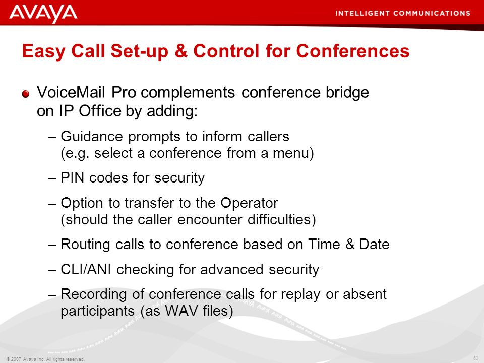 Easy Call Set-up & Control for Conferences