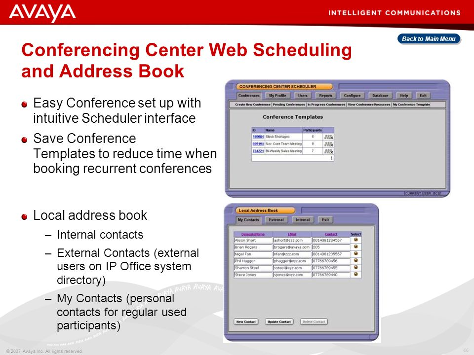 Conferencing Center Web Scheduling and Address Book