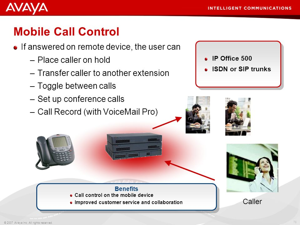 Mobile Call Control If answered on remote device, the user can