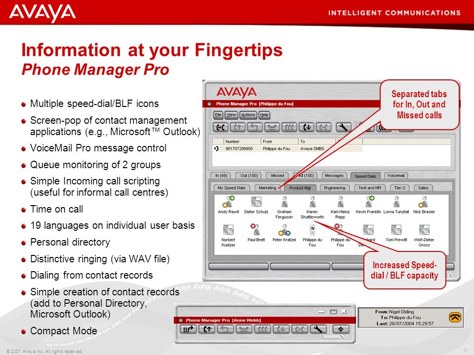 Information at your Fingertips Phone Manager Pro