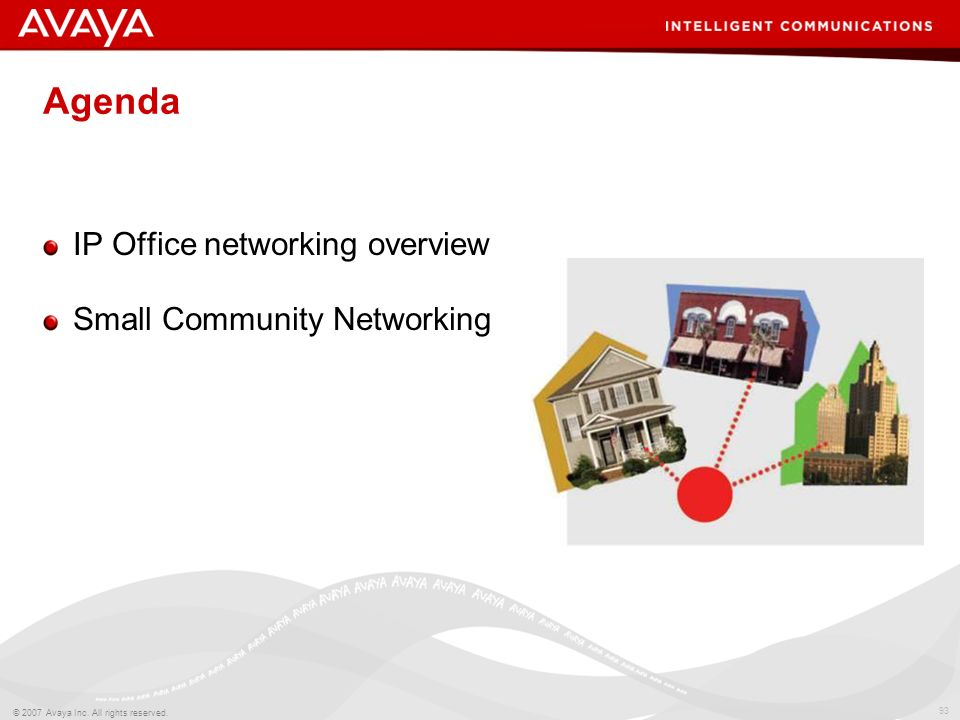 Agenda IP Office networking overview Small Community Networking
