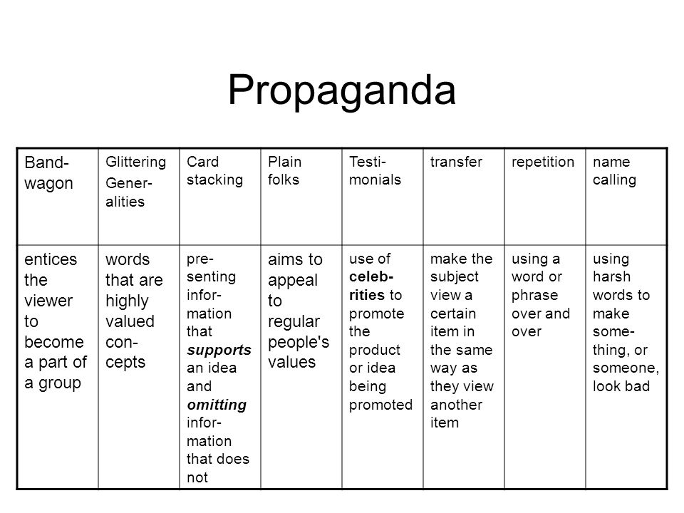 Propaganda Band-wagon entices the viewer to become a part of a group