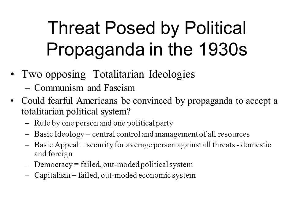 Threat Posed by Political Propaganda in the 1930s