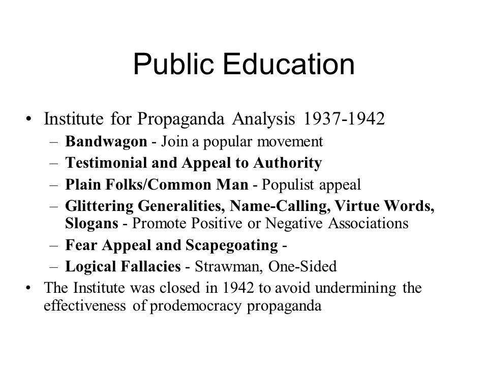 Public Education Institute for Propaganda Analysis 1937-1942