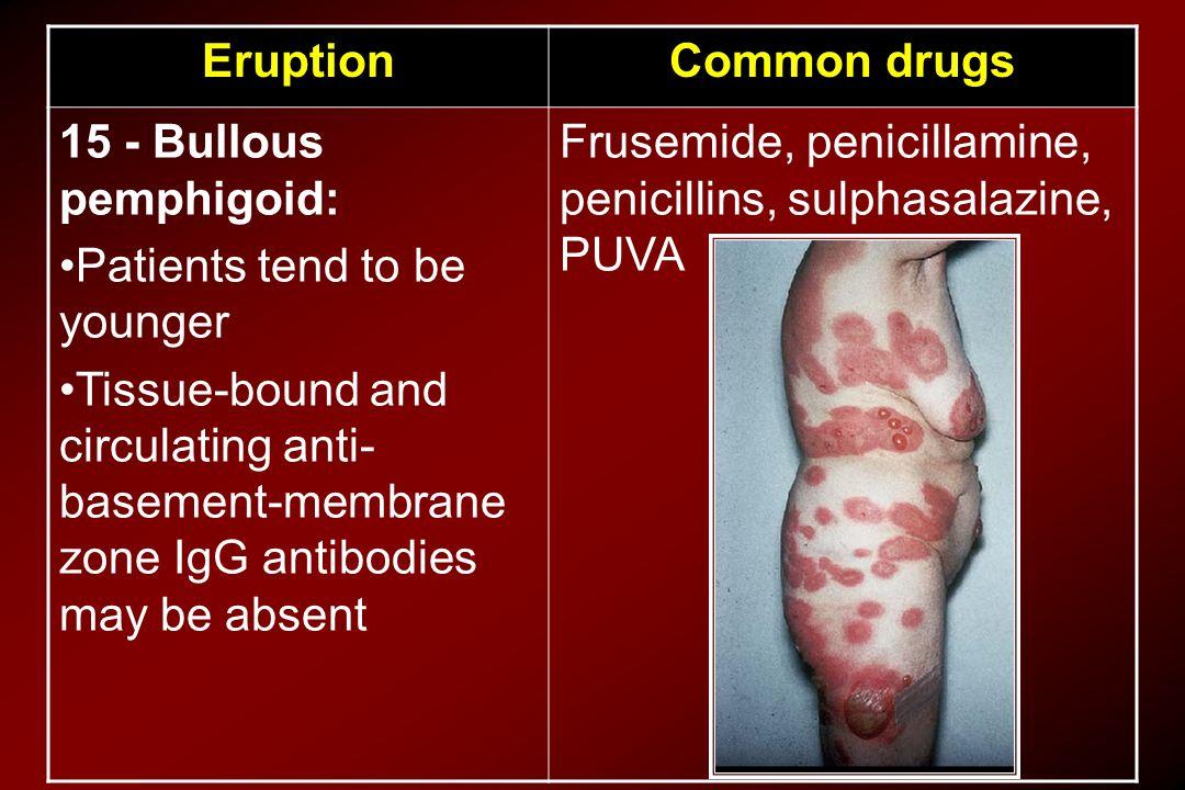 Common drugs Eruption. Frusemide, penicillamine, penicillins, sulphasalazine, PUVA. 15 - Bullous pemphigoid: