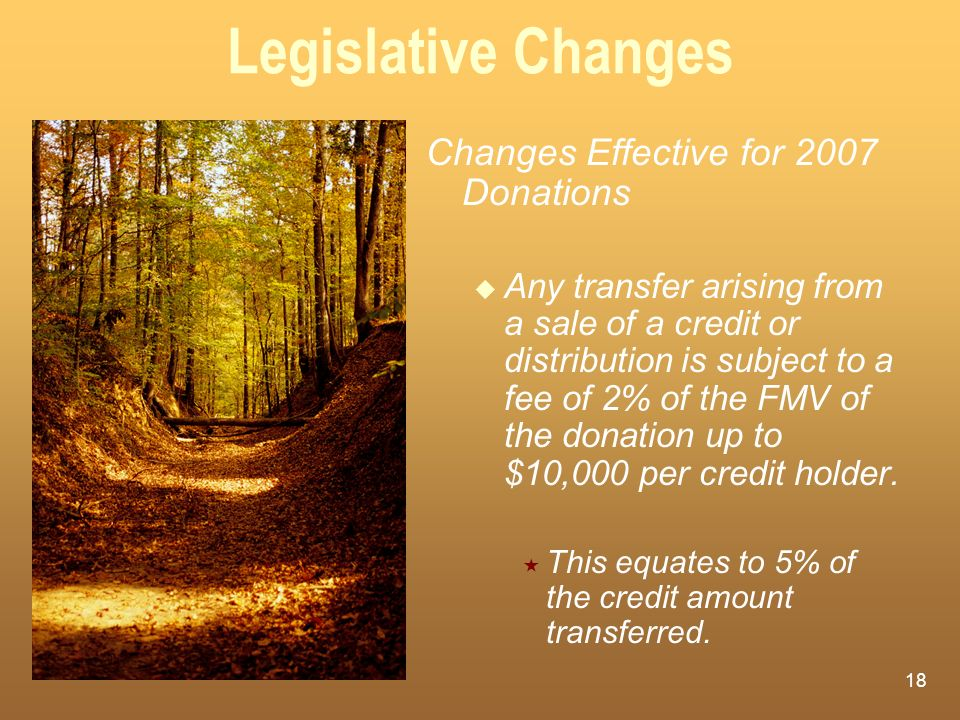 Legislative Changes Changes Effective for 2007 Donations