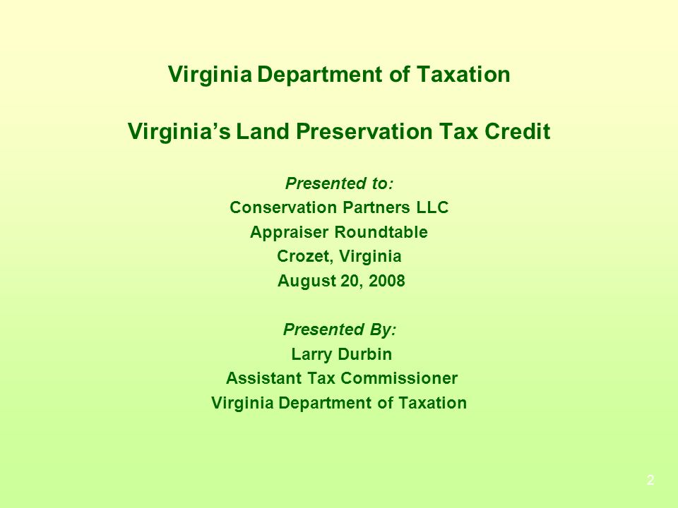 Virginia Department of Taxation Conservation Partners LLC