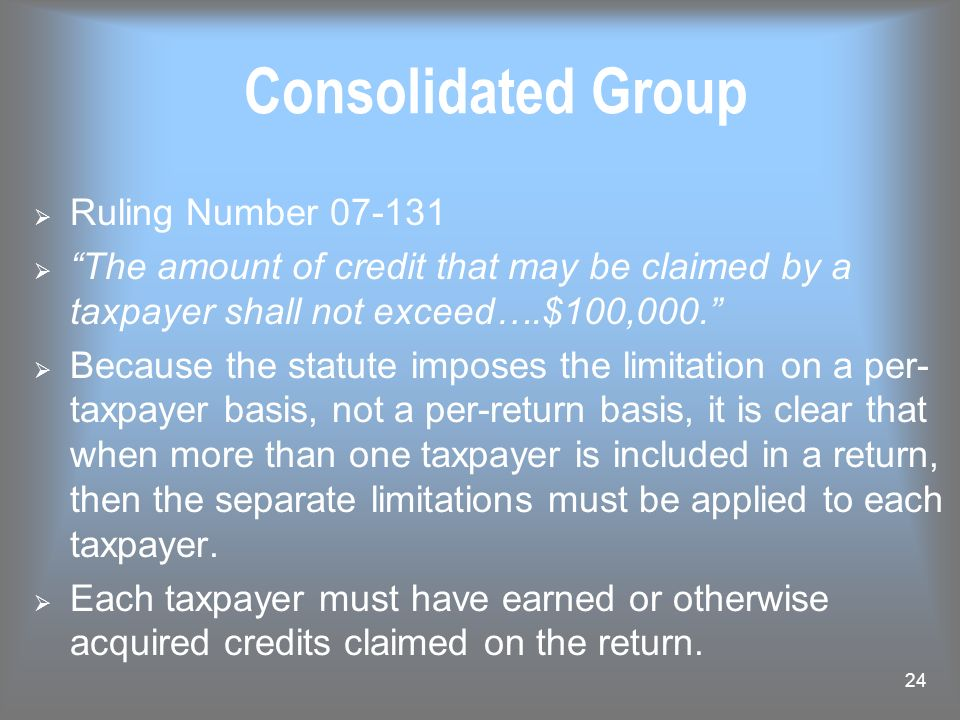 Consolidated Group Ruling Number 07-131