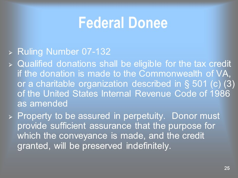 Federal Donee Ruling Number 07-132