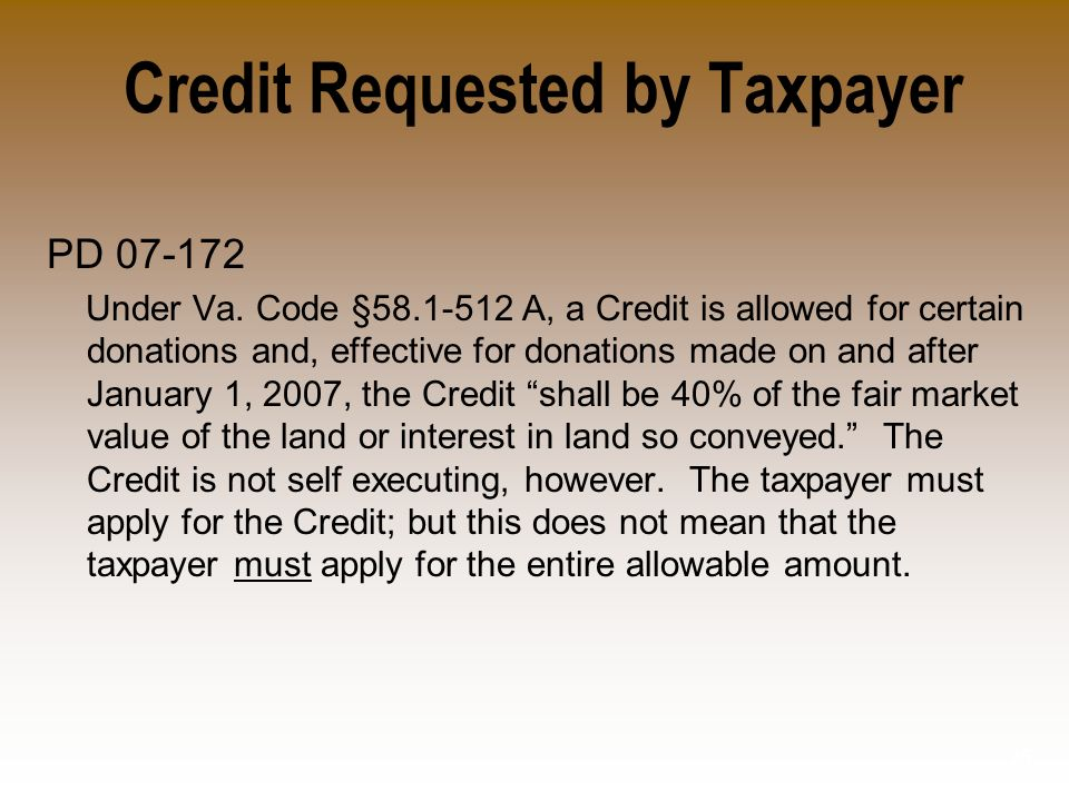 Credit Requested by Taxpayer