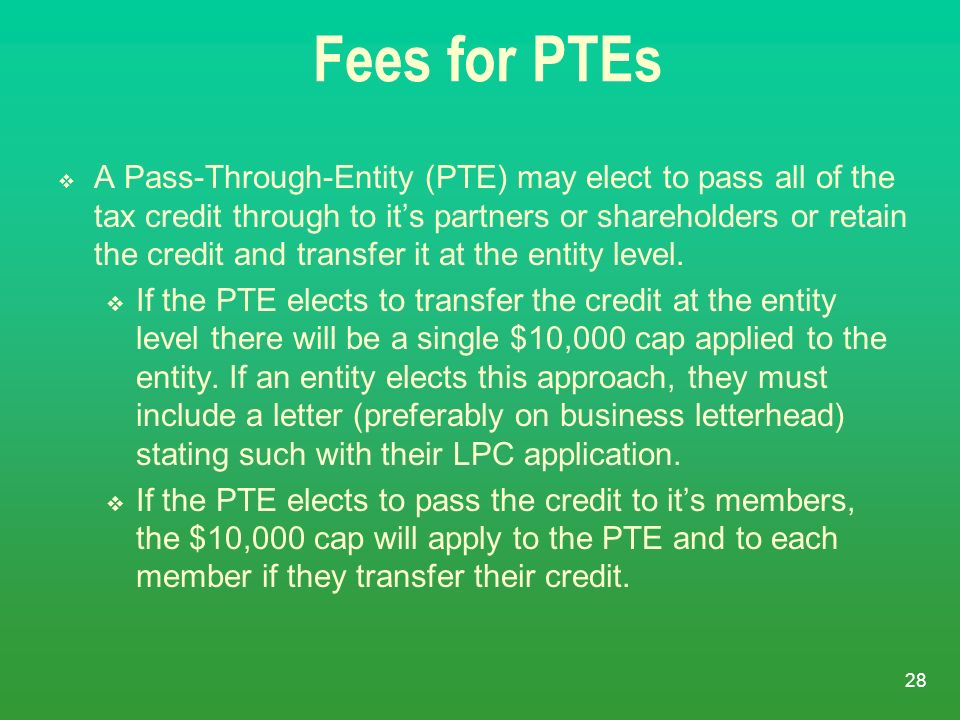 Fees for PTEs