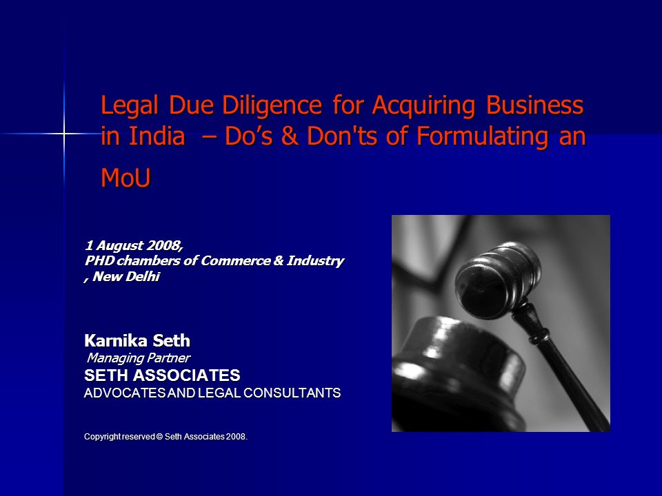 Legal Due Diligence for Acquiring Business in India – Do's & Don ts of Formulating an MoU
