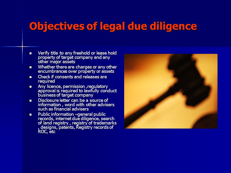 Objectives of legal due diligence