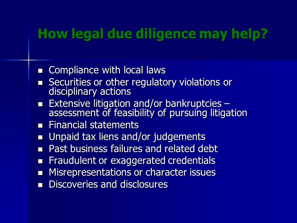 How legal due diligence may help