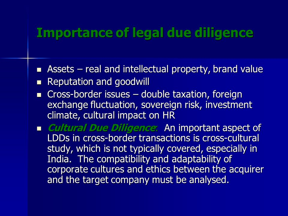 Importance of legal due diligence