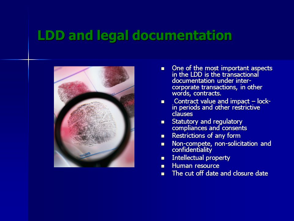 LDD and legal documentation