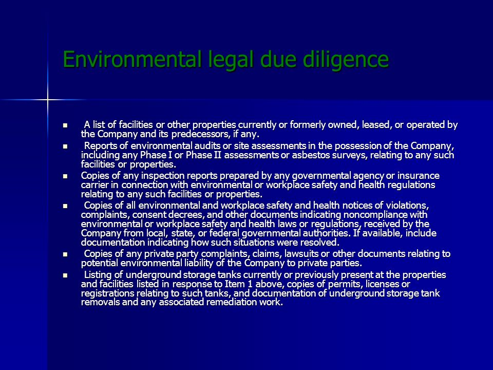 Environmental legal due diligence