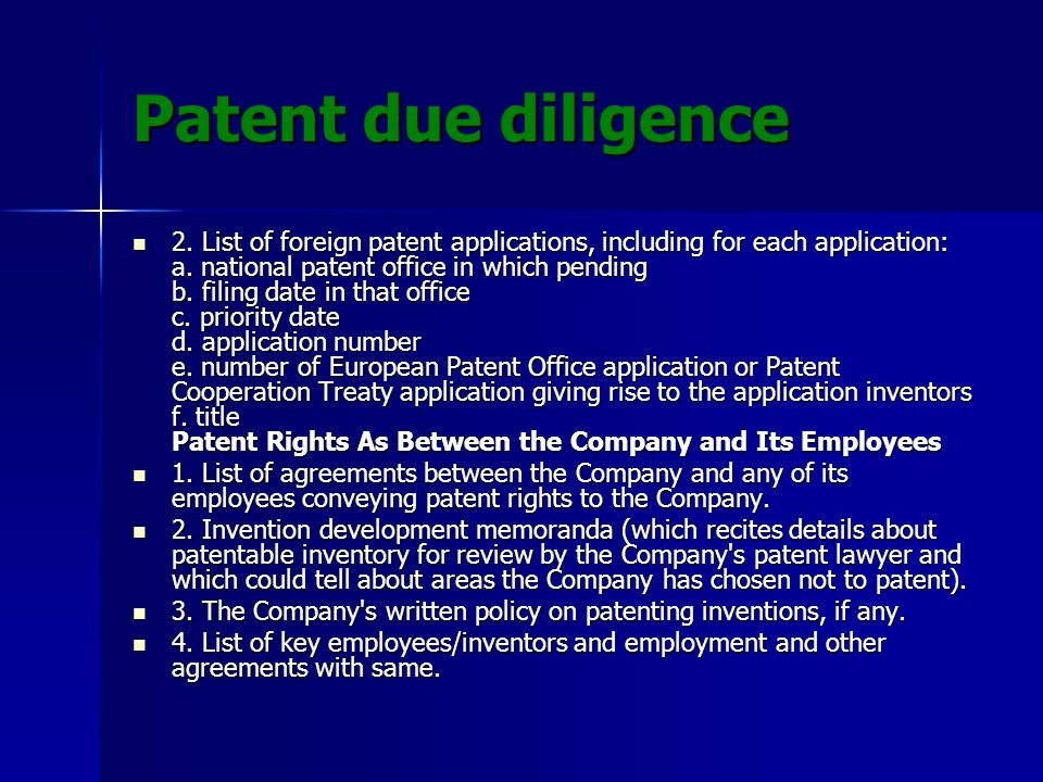Patent due diligence