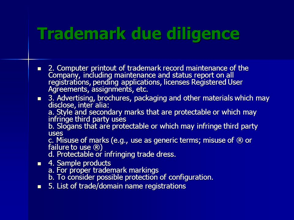 Trademark due diligence