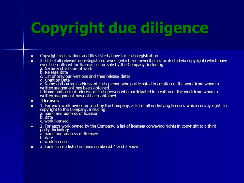 Copyright due diligence