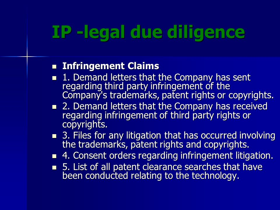 IP -legal due diligence