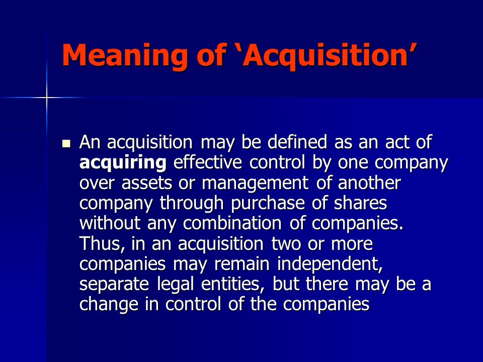 Meaning of 'Acquisition'