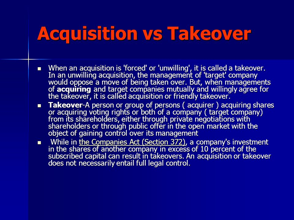Acquisition vs Takeover