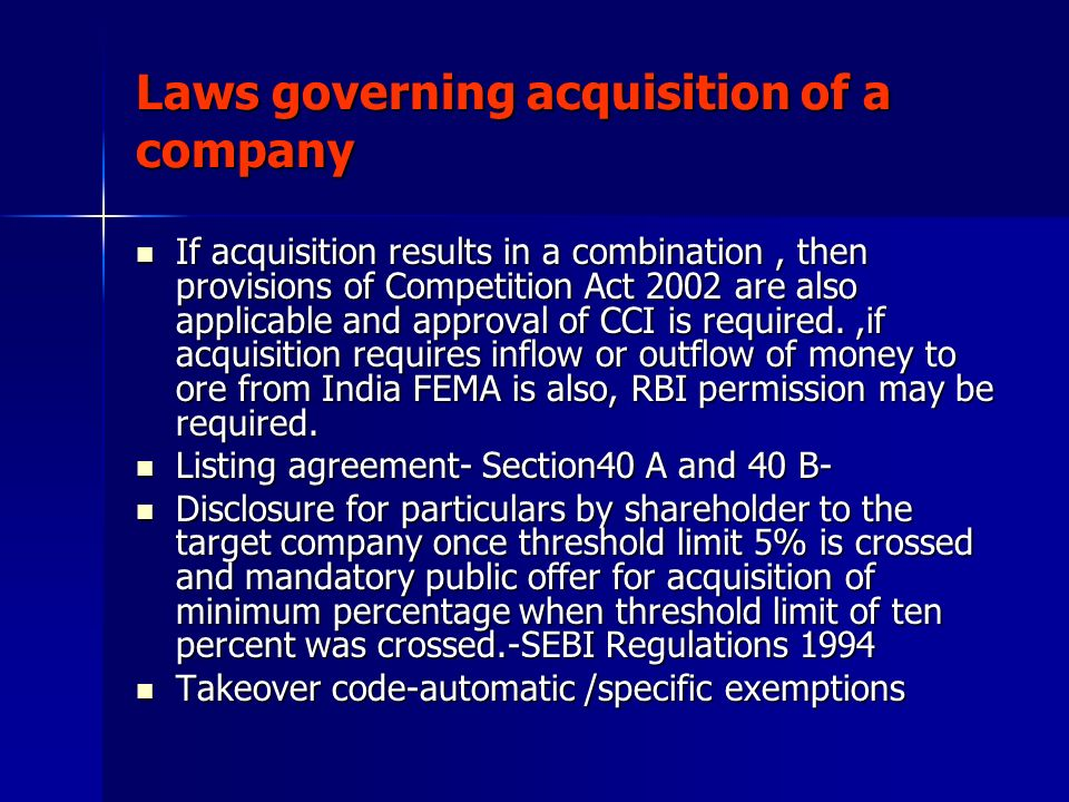 Laws governing acquisition of a company