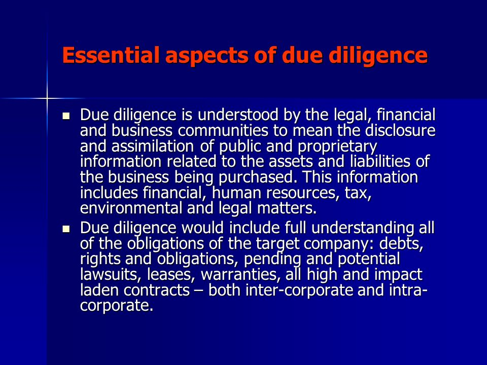 Essential aspects of due diligence