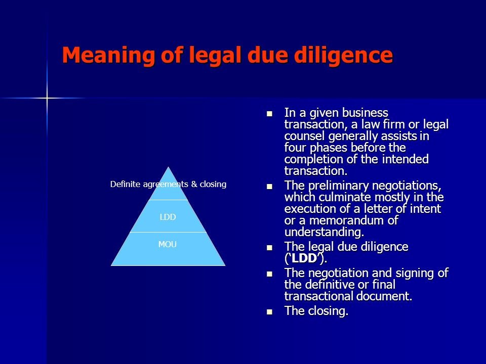 Meaning of legal due diligence