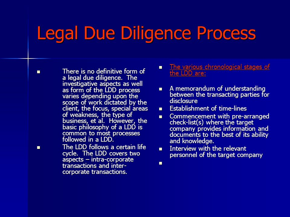Legal Due Diligence Process