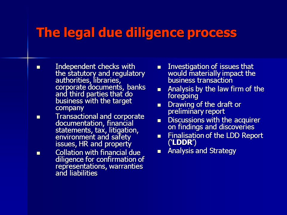 The legal due diligence process