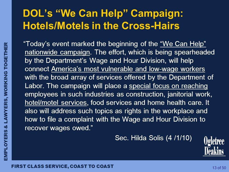 DOL's We Can Help Campaign: Hotels/Motels in the Cross-Hairs