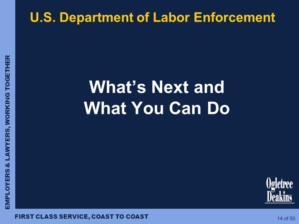 U.S. Department of Labor Enforcement