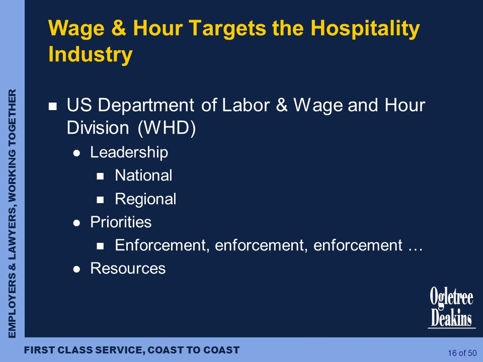 Wage & Hour Targets the Hospitality Industry