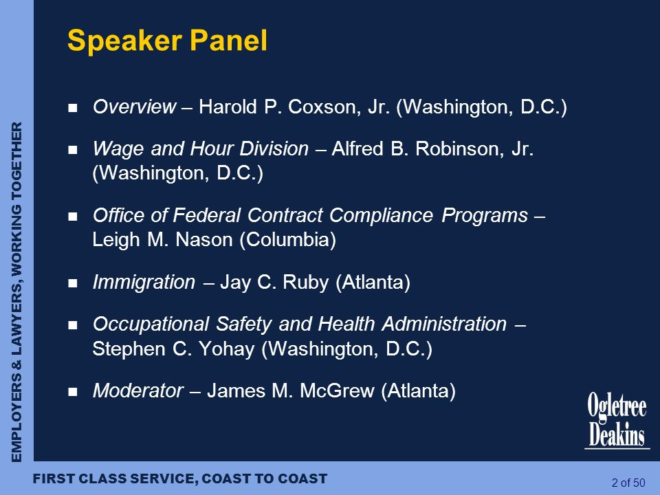 Speaker Panel Overview – Harold P. Coxson, Jr. (Washington, D.C.)
