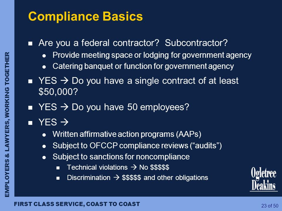 Compliance Basics Are you a federal contractor Subcontractor