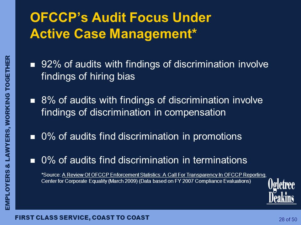 OFCCP's Audit Focus Under Active Case Management*