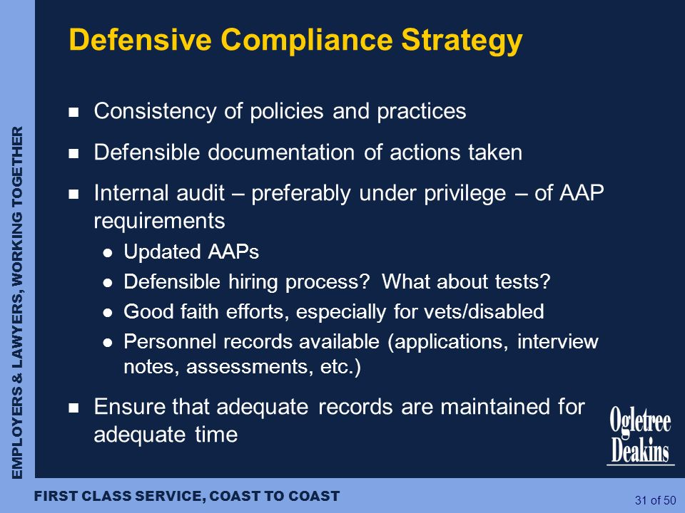Defensive Compliance Strategy