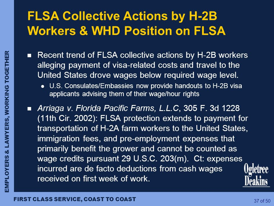 FLSA Collective Actions by H-2B Workers & WHD Position on FLSA