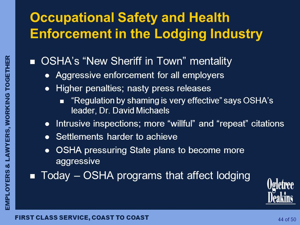 Occupational Safety and Health Enforcement in the Lodging Industry