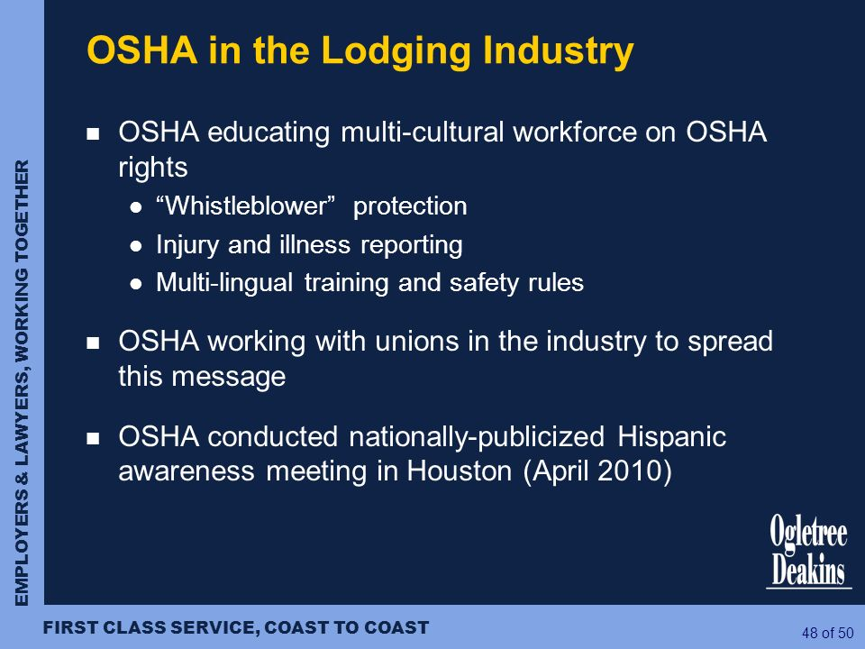 OSHA in the Lodging Industry