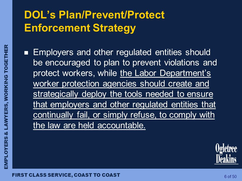 DOL's Plan/Prevent/Protect Enforcement Strategy