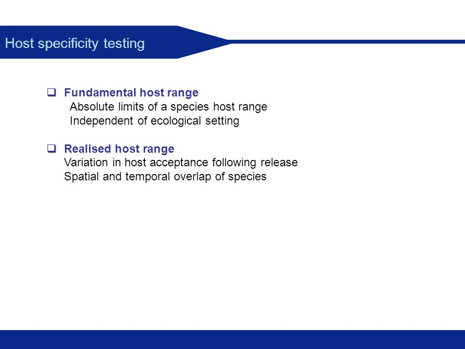 Host specificity testing