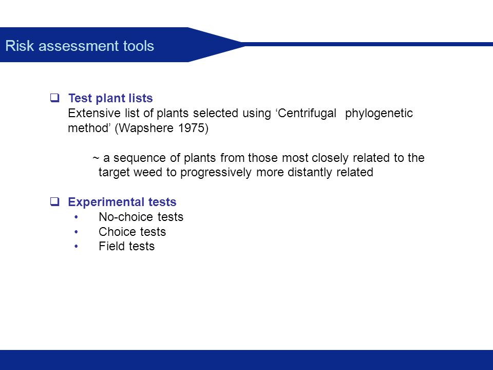 Risk assessment tools Test plant lists