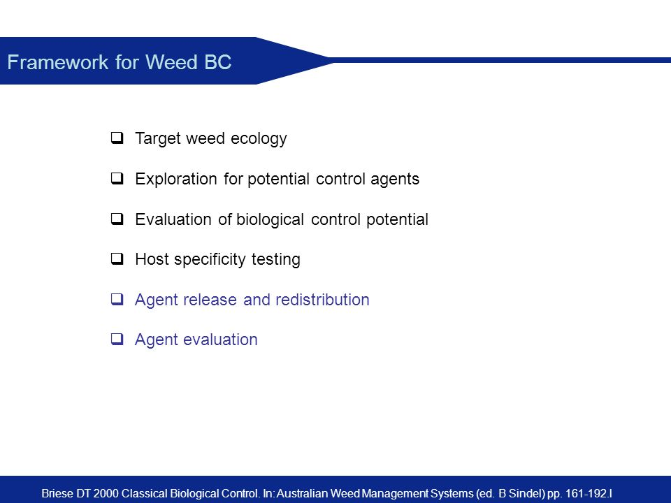 Framework for Weed BC Target weed ecology