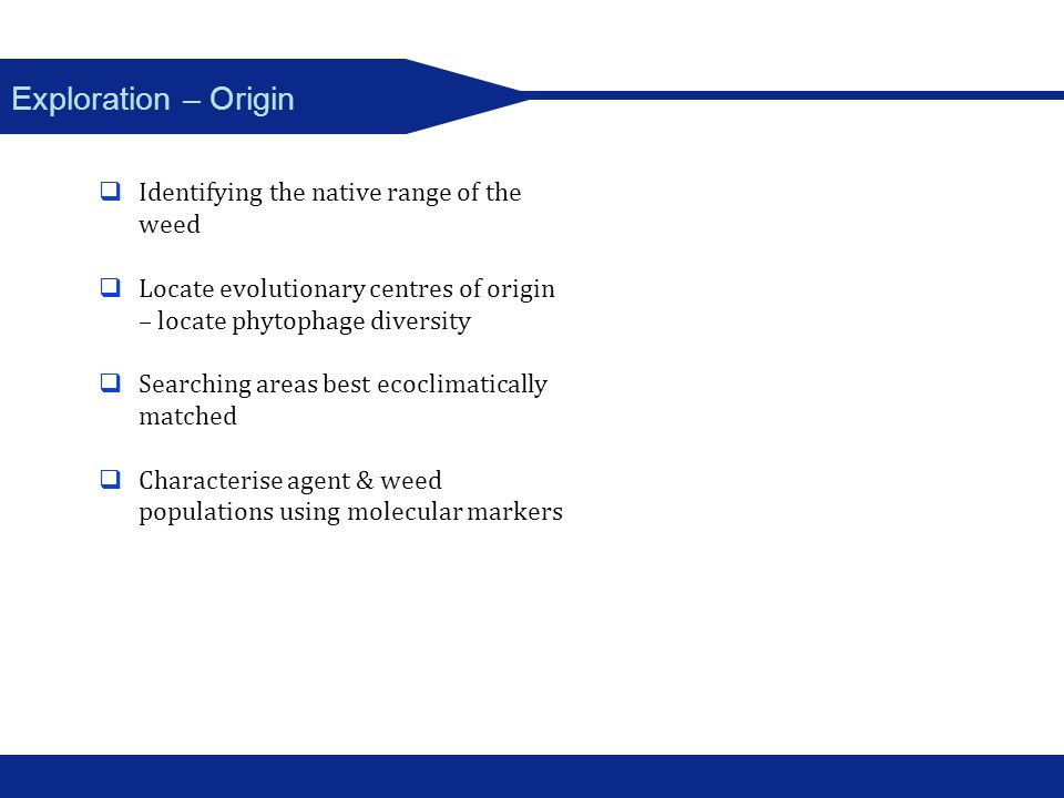 Exploration – Origin Identifying the native range of the weed