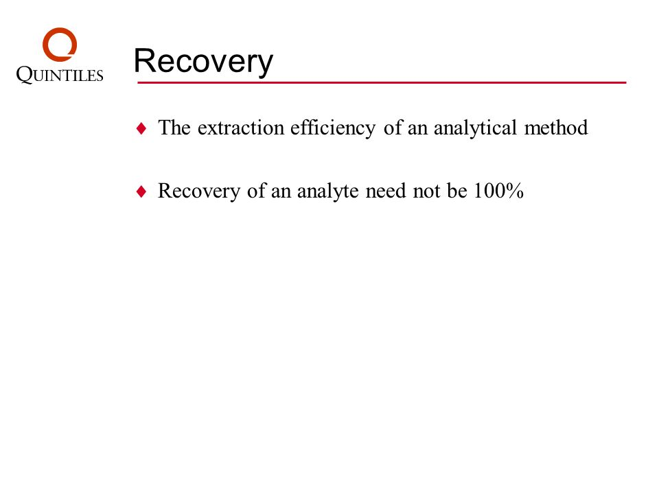 Recovery The extraction efficiency of an analytical method