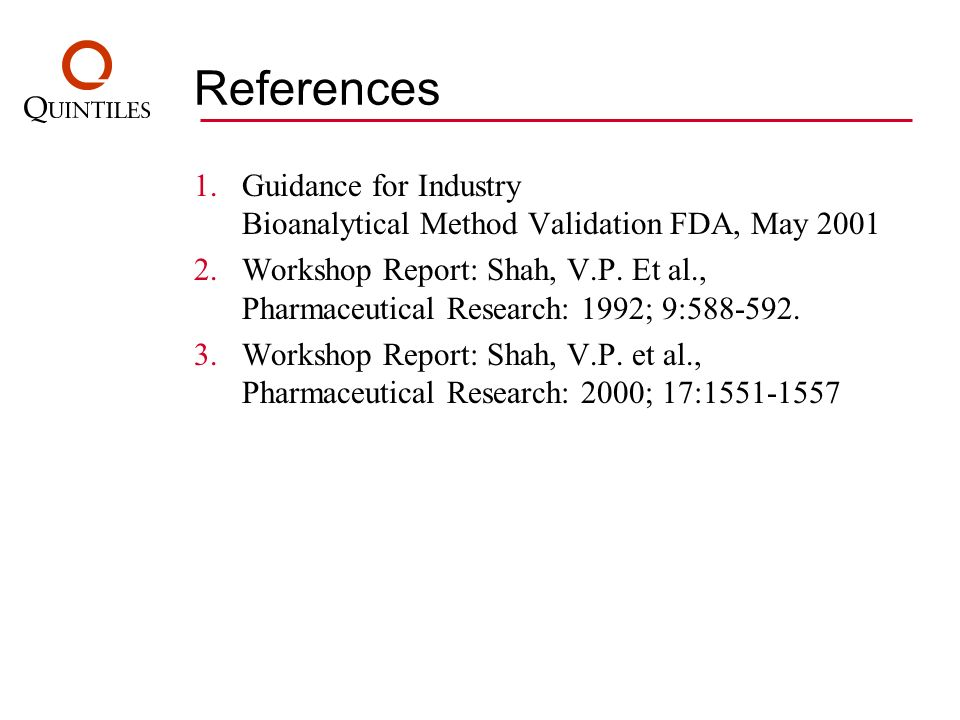 References Guidance for Industry Bioanalytical Method Validation FDA, May 2001.
