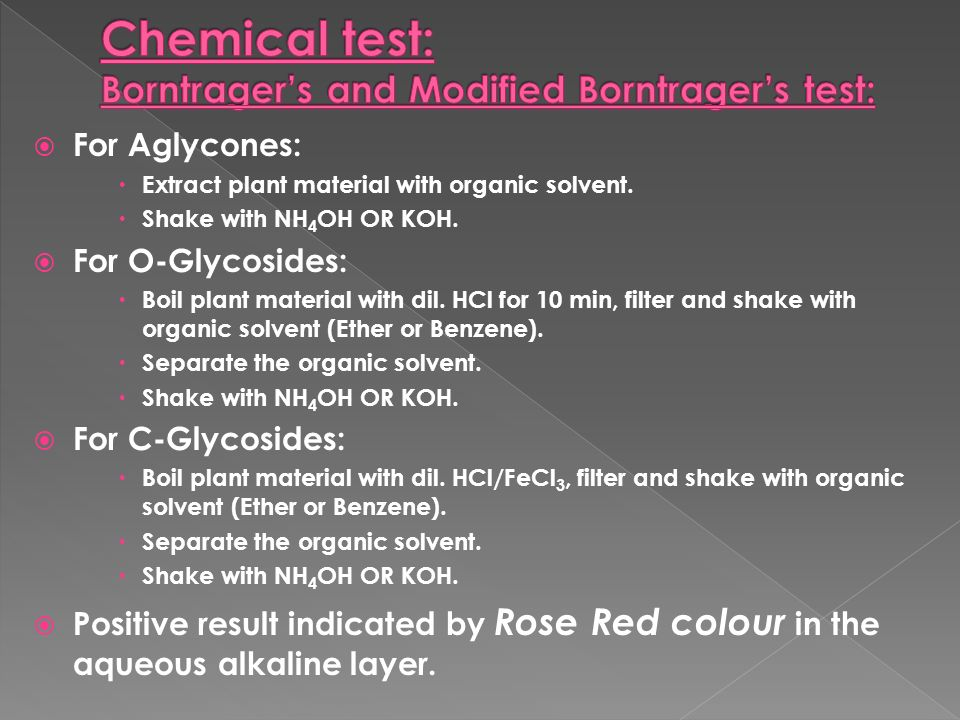 Chemical test: Borntrager's and Modified Borntrager's test: